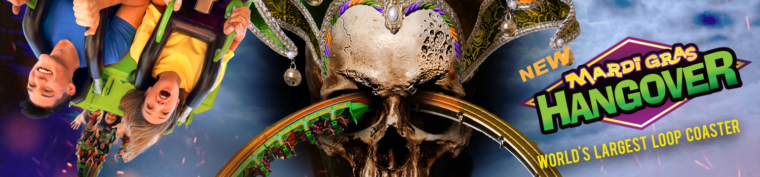 guests riding Mardi Gras Hangover with skull in coaster