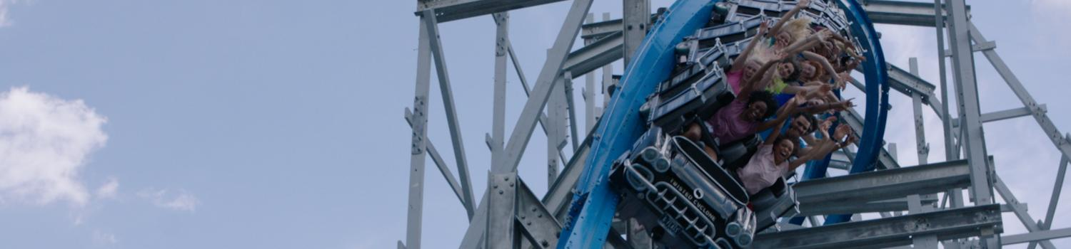 Twisted Cyclone roller coaster drop
