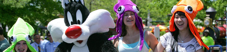 Guests wearing squid souvenir hats