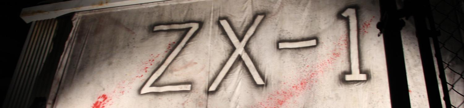 """Sign Depicting """"ZX-1"""" during fright fest"""