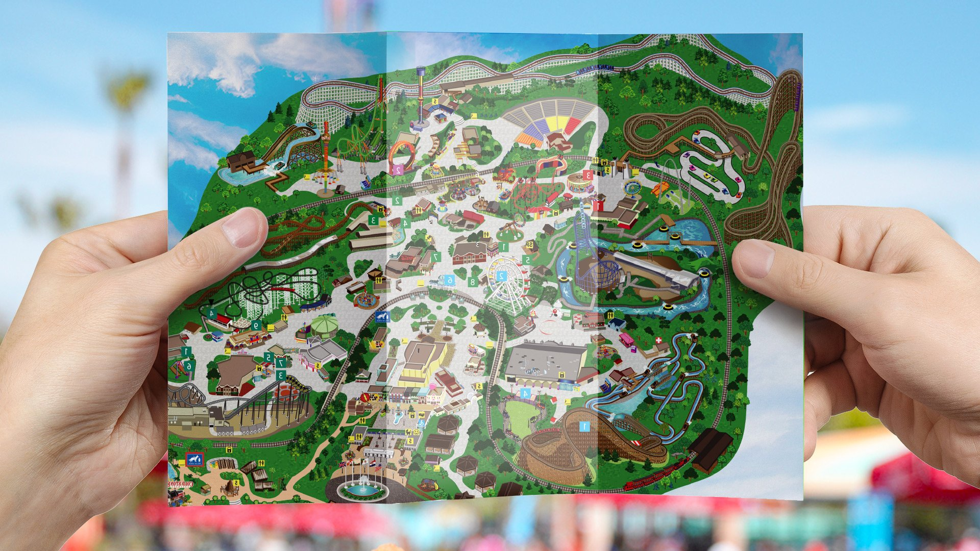 A person looking at a map of Six Flags theme park