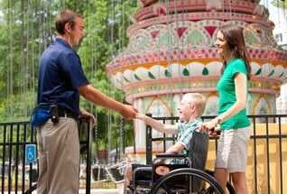 Person in wheelchair at Six Flags