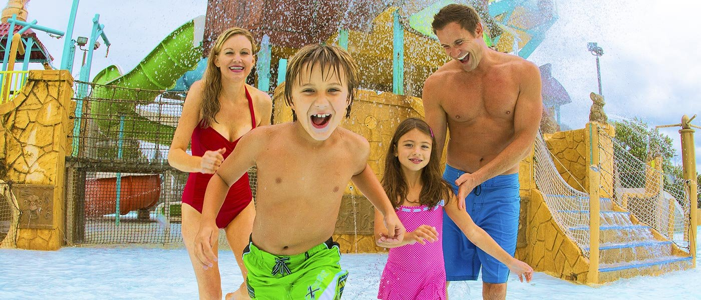 Family enjoying an attraction at the waterpark